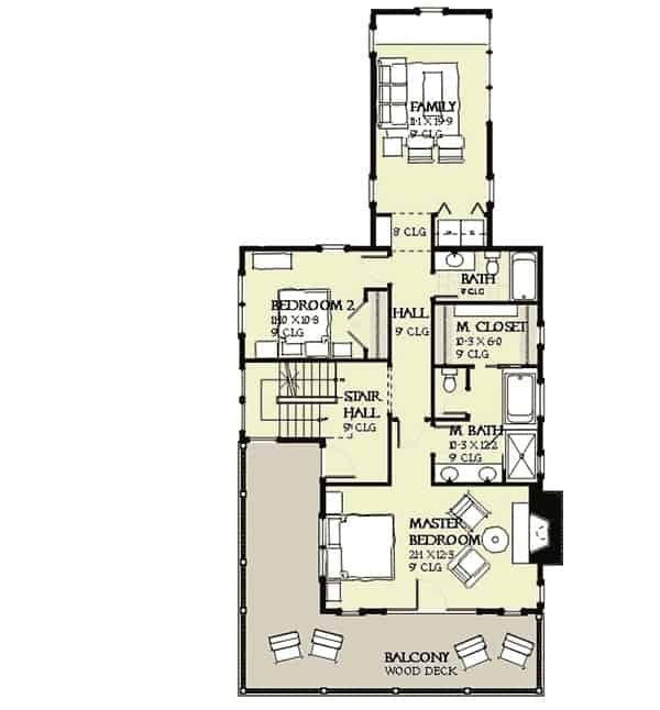 Third level floor plan with additional bedroom and bathroom, bunk rooms for the kids, covered breezeway, and a balcony.