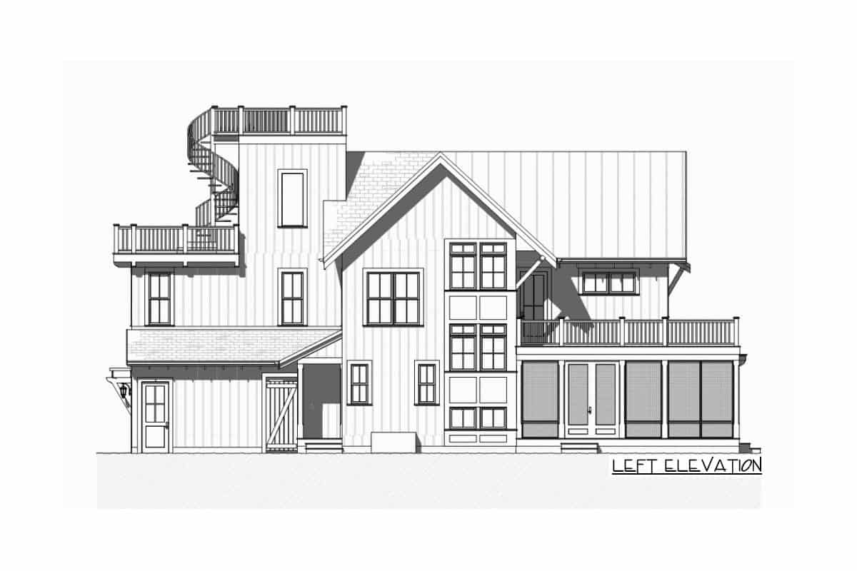 Left elevation sketch of the three-story beach house.