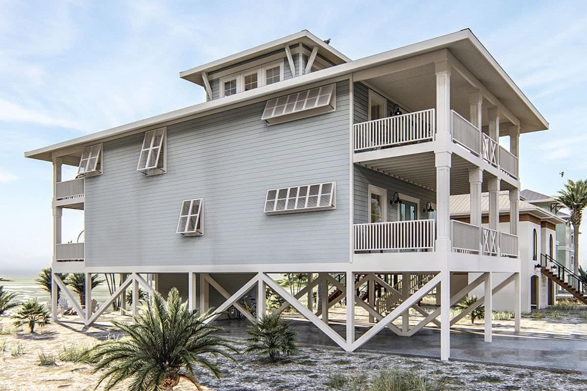 Right exterior view shows the covered decks, white trims, and muted blue siding fitted with white framed windows.