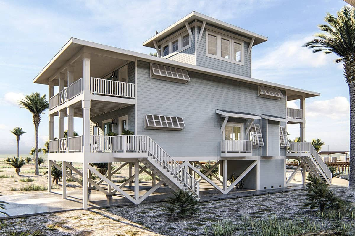 Left exterior view shows the staircases leading to the porches along with a third-floor lookout that lets you enjoy the stunning views.