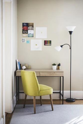 Homework Spaces and Study Room Ideas. A casual designed workplace with a yellow upholstered chair