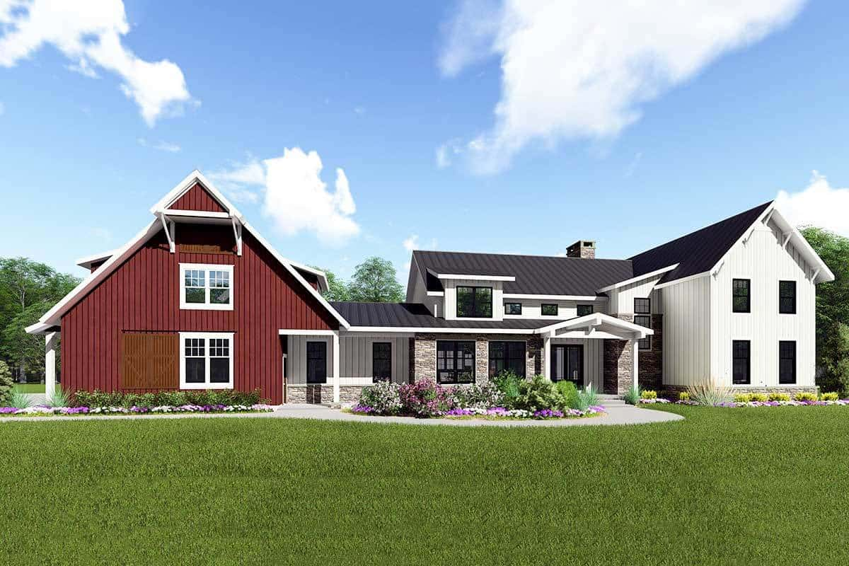 5-Bedroom Two-Story Modern Farmhouse with Barn-Style Garage (Floor Plan)