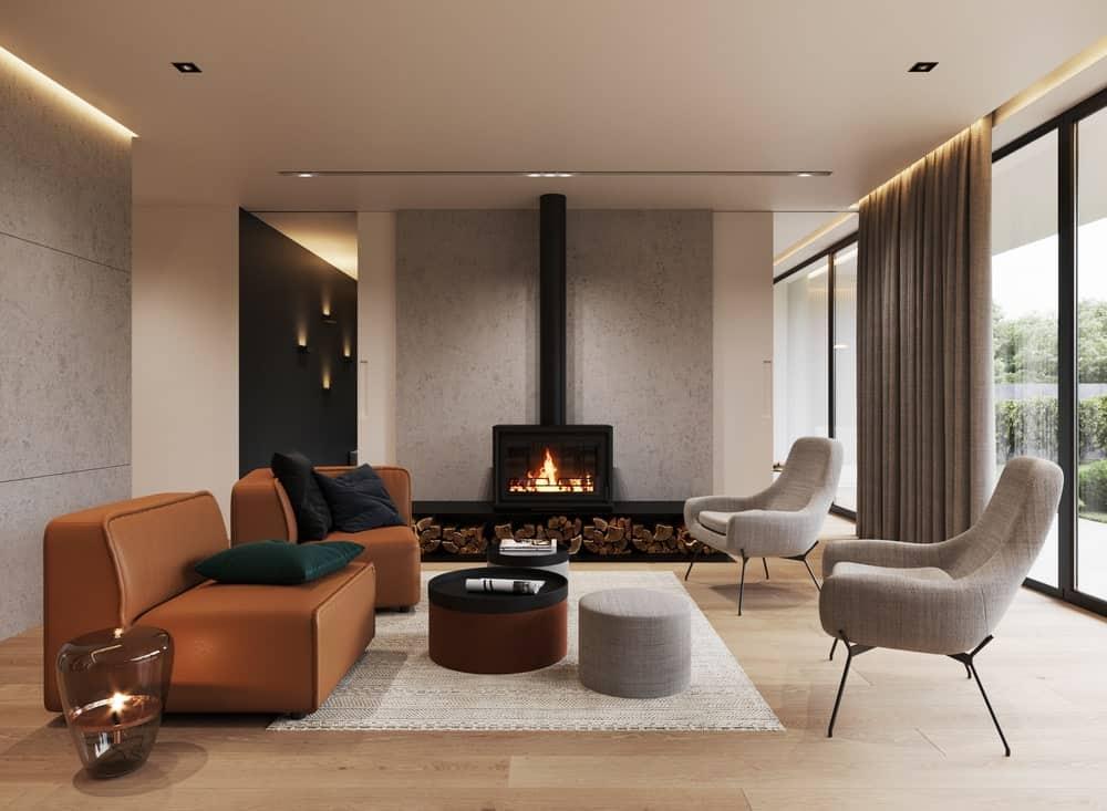 Elegant minimalist living room interior.