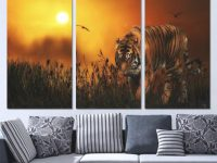 2020 3 Panels Canvas Art Tiger Hunting Land Sunset Home Decor Wall Art Painting Canvas Prints Pictures For Living Room Poster Xa1171B From inside Hunting Decor For Living Room