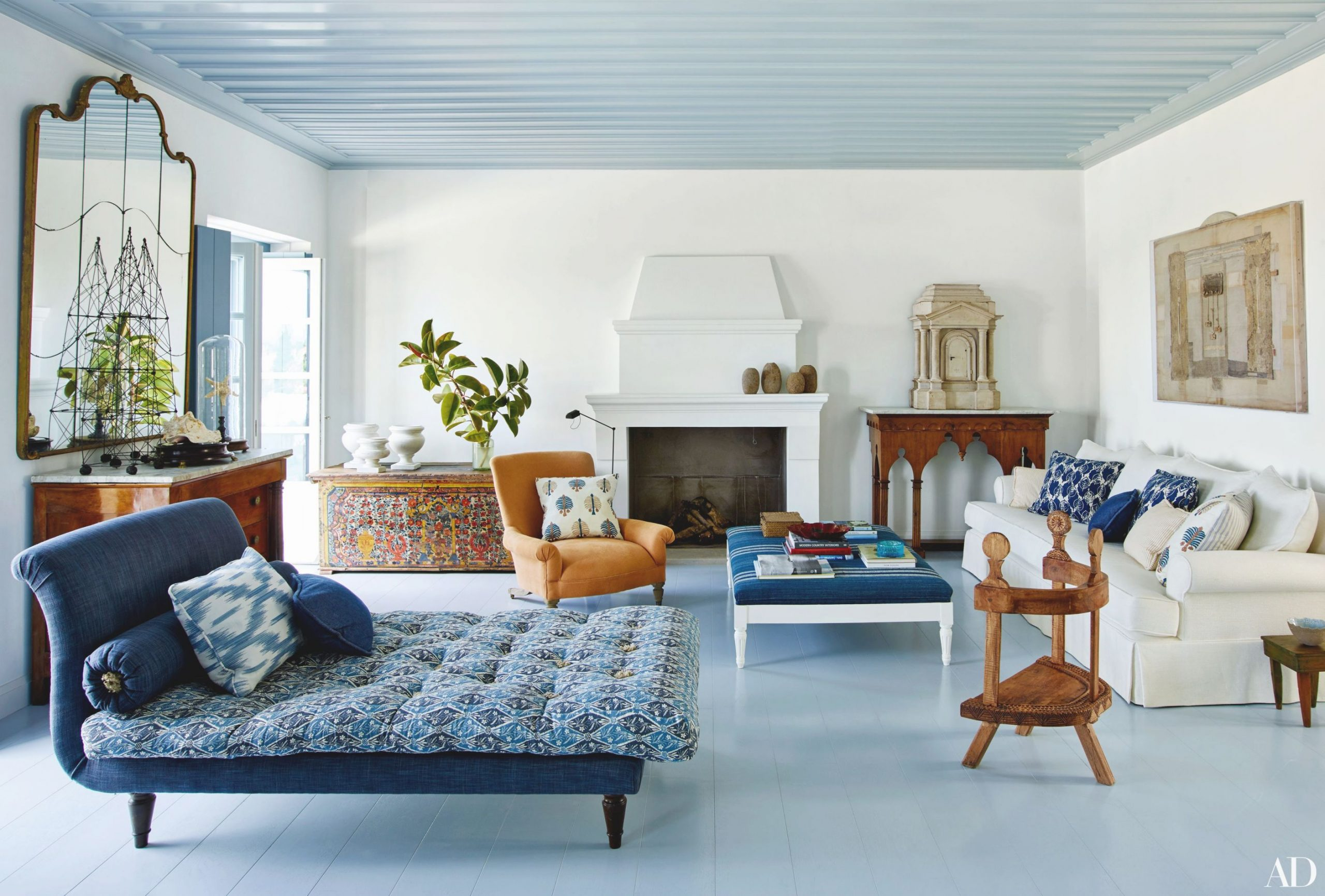 30 Rooms That Showcase Blue-And-White Decor | Architectural within Hunting Decor For Living Room