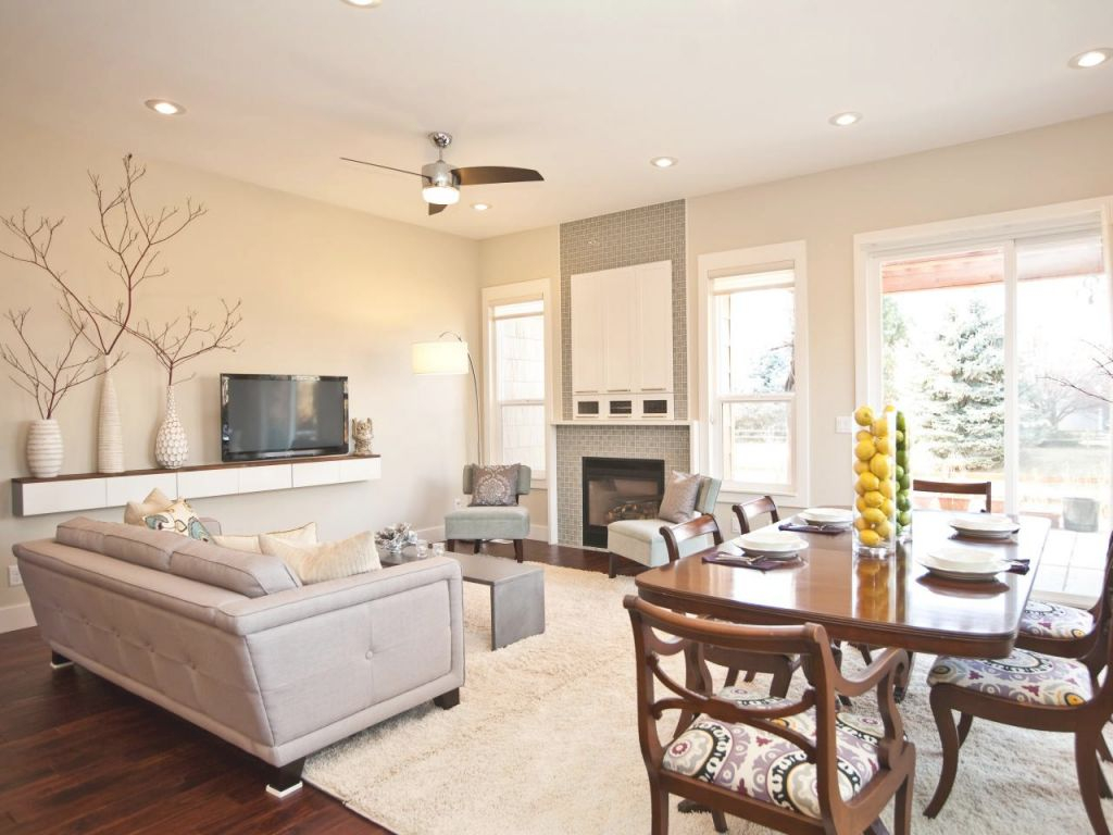 Beautiful Living Room Dining Room With Sofa Table With Lamps with regard to Living Room And Dining Room Combo Decorating Ideas
