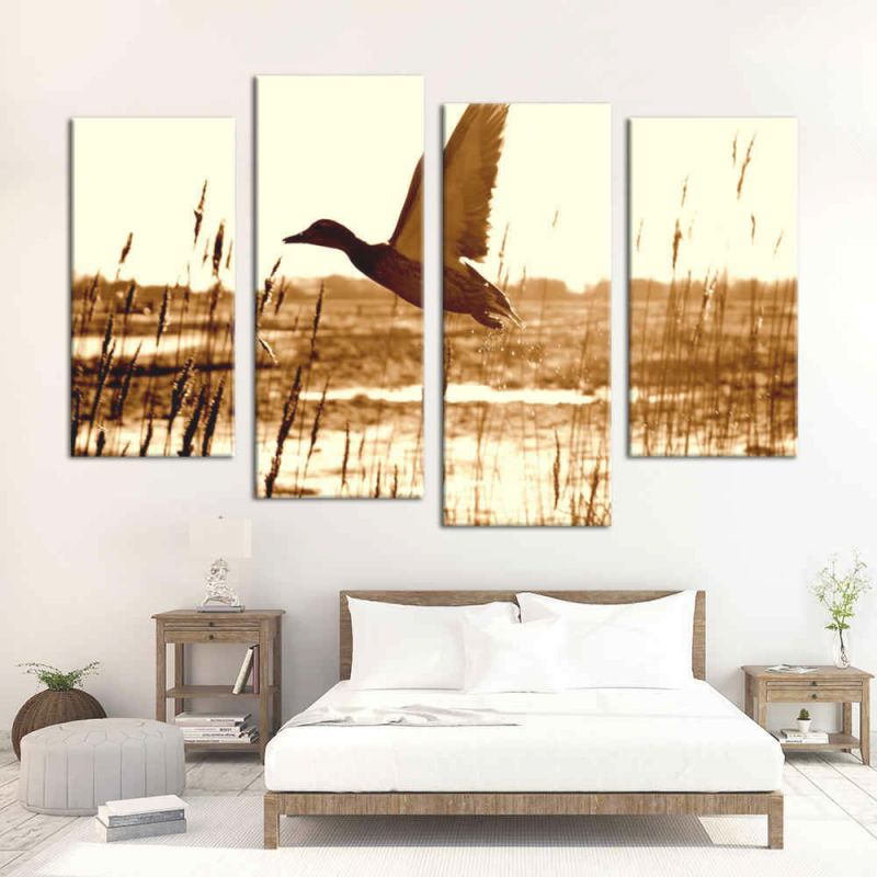 Canvas Wall Art Modular Pictures Home Decor 4 Pieces Duck Hunting Paintings Living Room Hd Printed Animation Posters Framework with regard to 10+ Unique Gallery Hunting Decor For Living Room