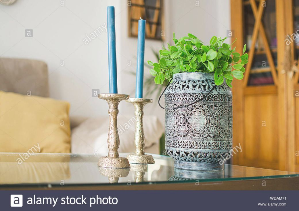 Closeup Of Decorative Items (Candle Holders And An Ethnic regarding 15 Unique Gallery For Decorative Items For Living Room