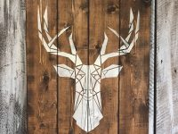 Deer Head Wood Sign 30X 22 Cottage Chalet Home Decor Bedroom in Hunting Decor For Living Room