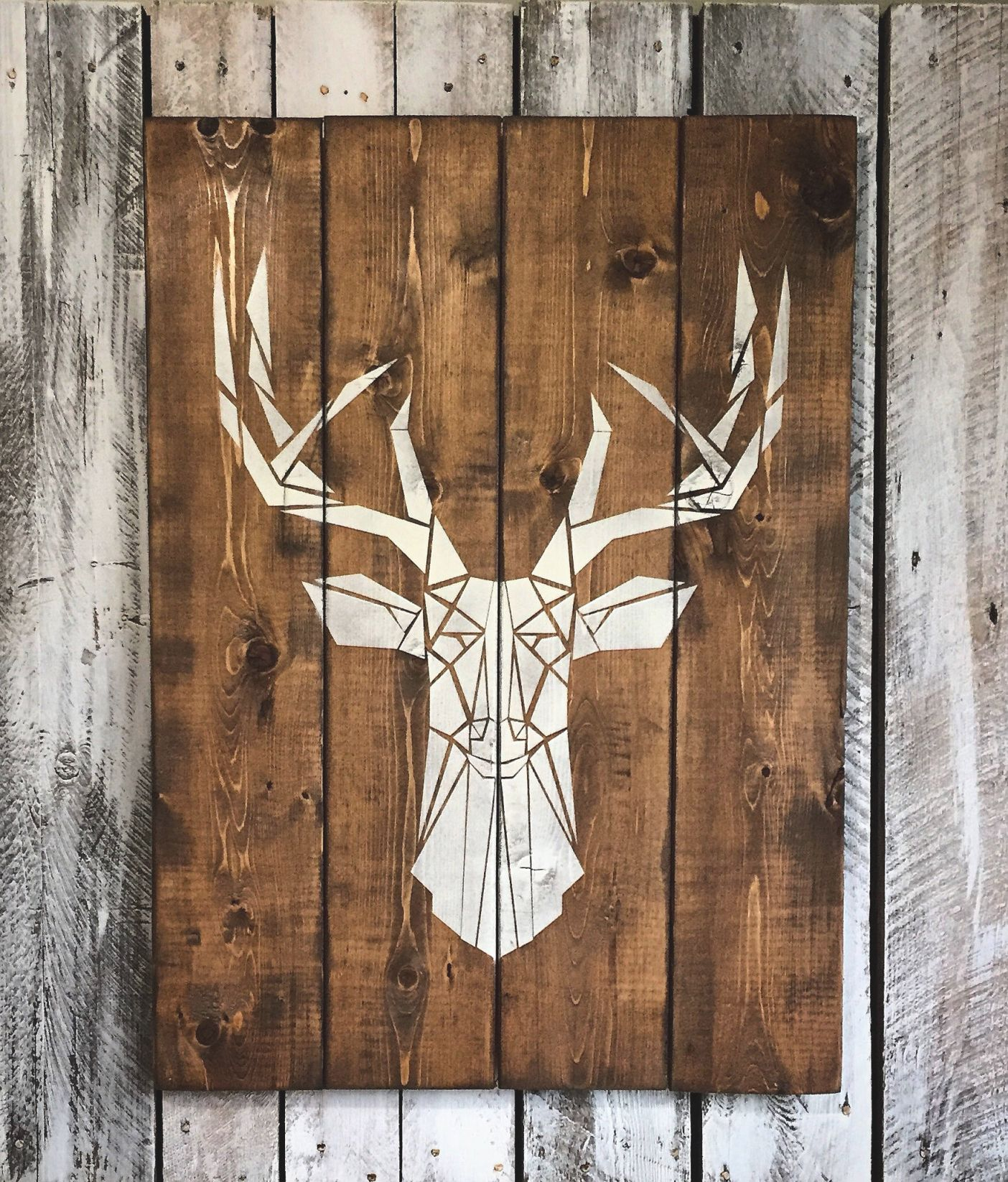 Deer Head Wood Sign 30X 22 Cottage Chalet Home Decor Bedroom in Hunting Decor For Living Room