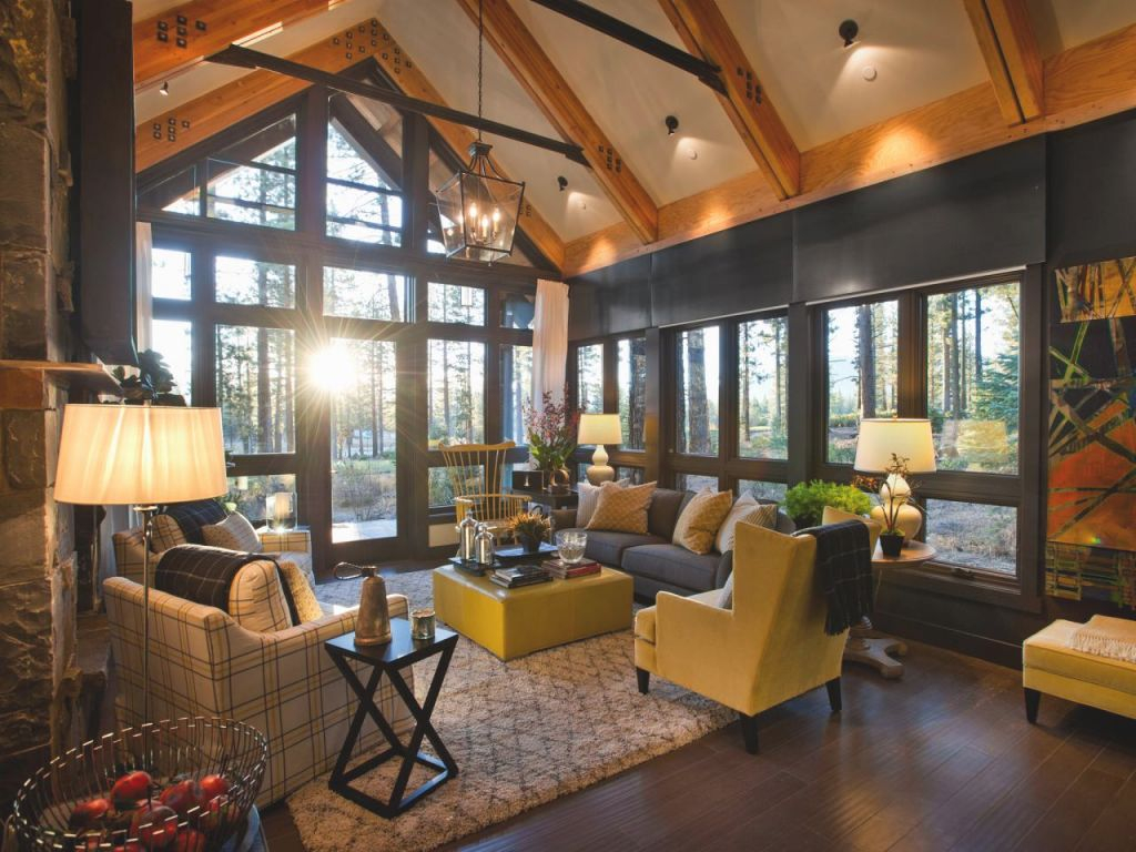 Grand A-Frame Living Room With Forest Views | Hgtv inside 15 Gallery Inspiration For Living Room Decorating Ideas 2014