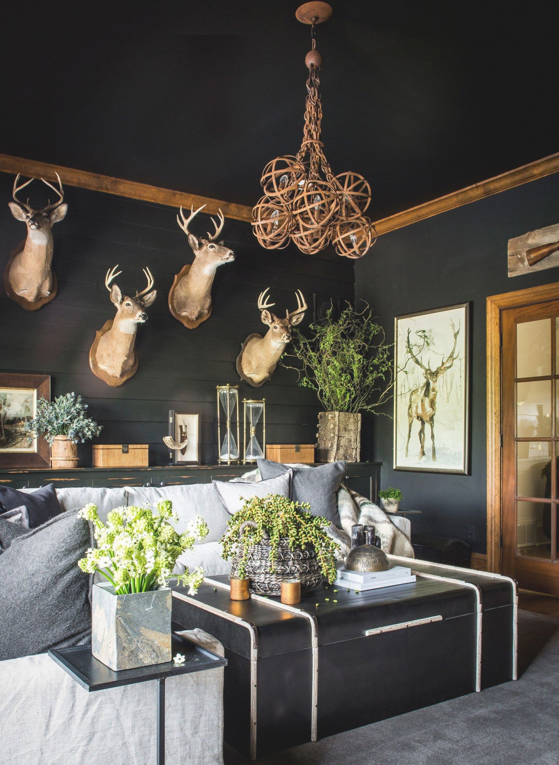 Joy Of A Man Cave | Hunting Themed Bedroom, Modern Lodge in 10+ Unique Gallery Hunting Decor For Living Room