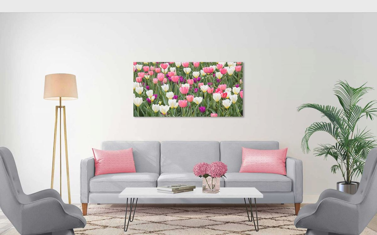 Pastel Field Canvas regarding Purple And Green Living Room Decor