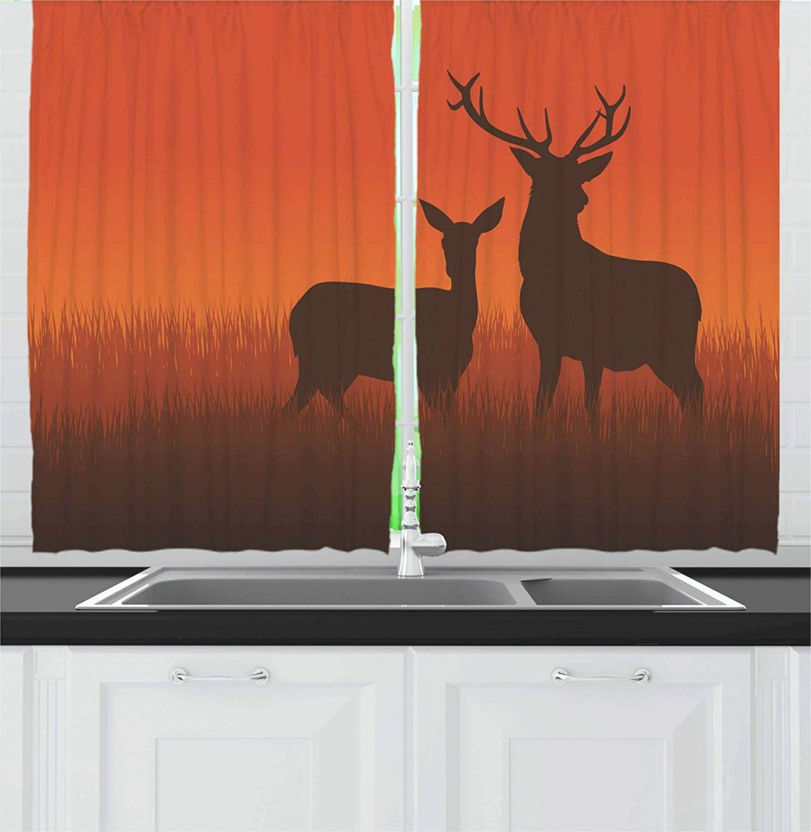 Us $29.44 5% Off|Hunting Decor Curtains Silhouette Illustration Of A Deer And Doe On Meadow Autumn Season Skyline Window Drapes For Living with regard to Hunting Decor For Living Room