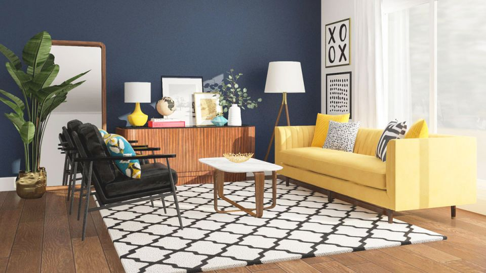 5 Blue Living Room Ideas From Our Designers' Playbook with Blue And Yellow Living Room