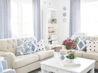 A Blue And White Living Room With Extra Sparkle pertaining to Blue And White Living Room