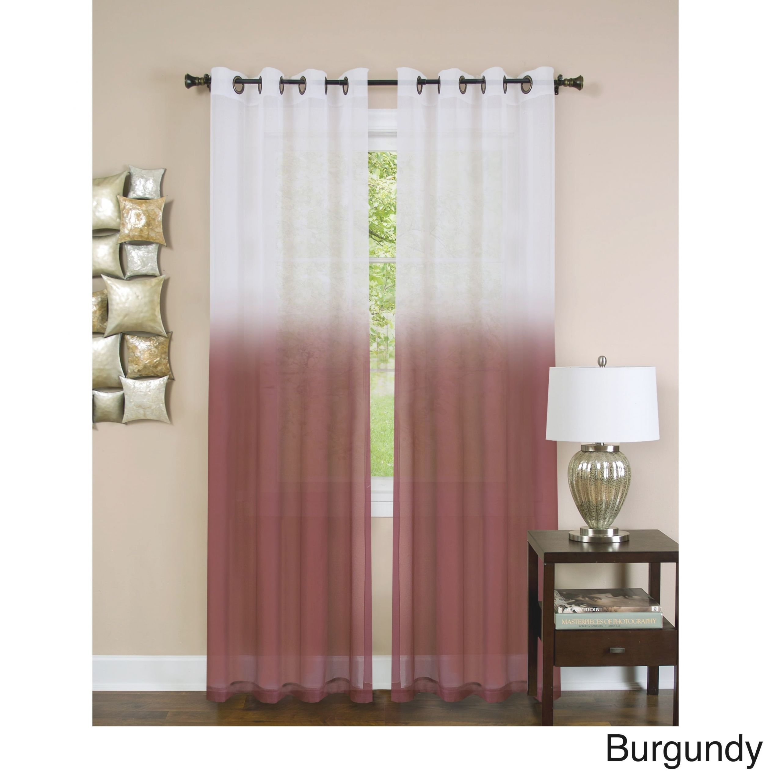 Achim Essence Ombre Grommet Top Single Curtain Panel within 10+ Unique Gallery Burgundy Curtains For Living Room