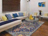 Amer Rugs Boho Navy / Light Blue Yellow/Pink Rectangular Area Rug throughout 15 Beautiful Ideas Blue And Yellow Living Room