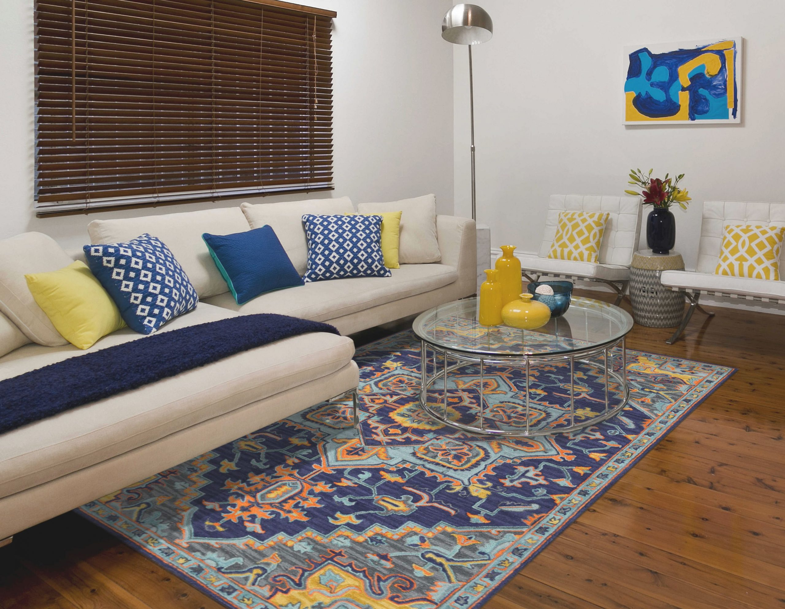 Amer Rugs Boho Navy Light Blue Yellow Pink Rectangular Area Rug Throughout 15 Beautiful Ideas Blue And Yellow Living Room Awesome Decors