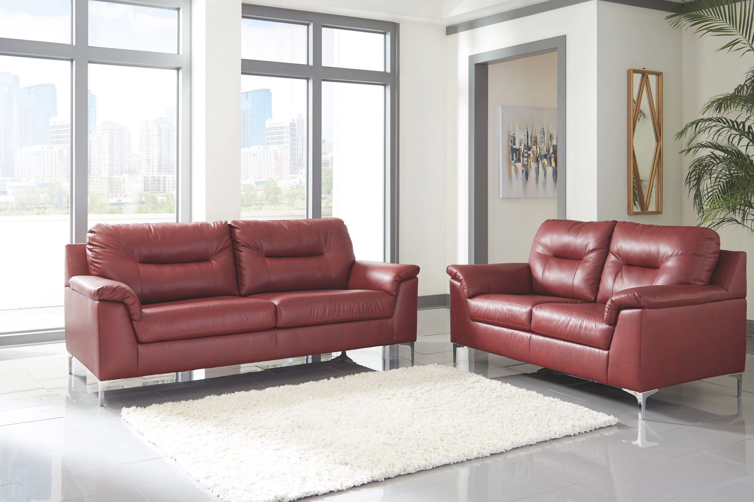Ashley Tensas 2Pc Red Living Room Set inside Brown And Red Living Room