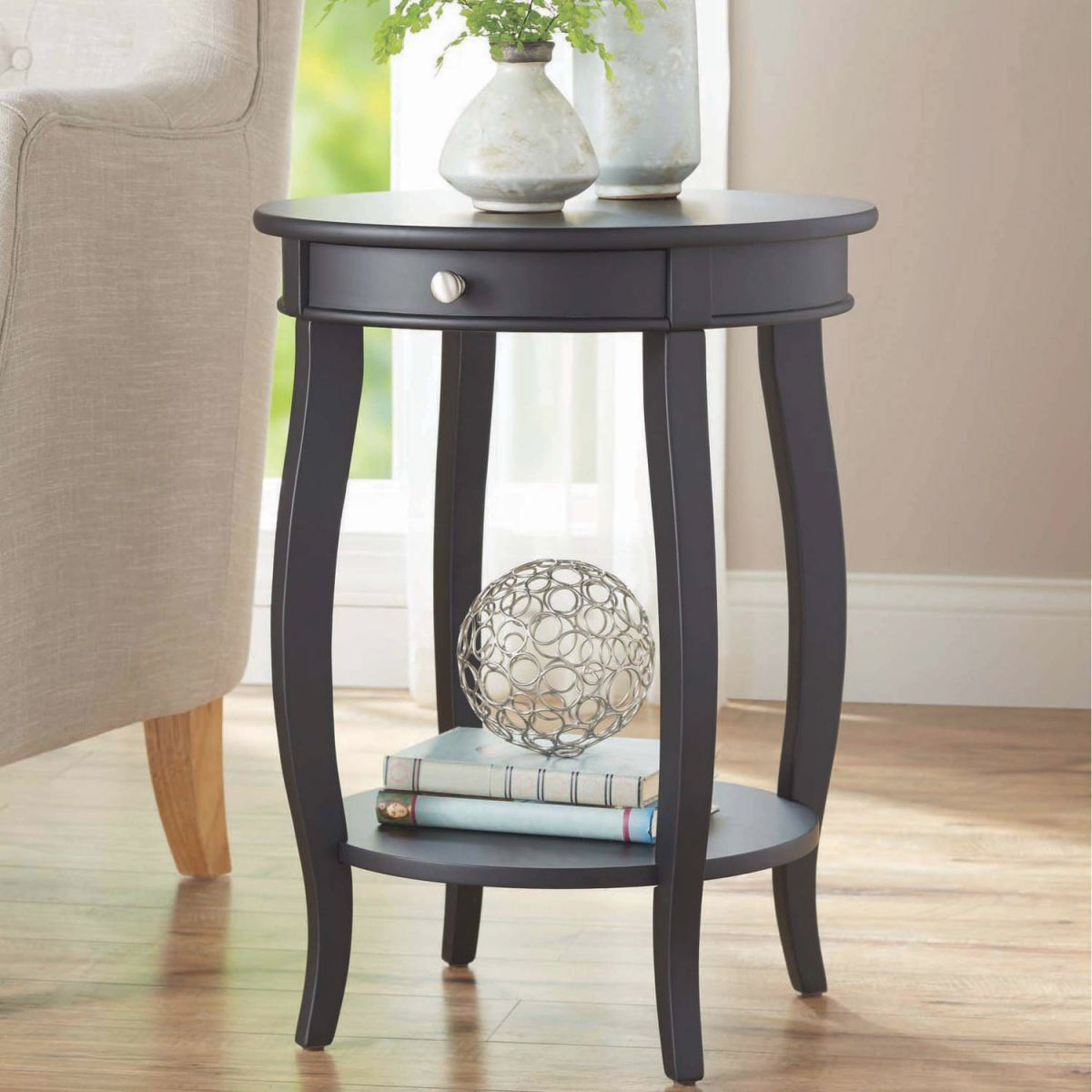 Better Homes & Gardens Round Accent Table With Drawer, Black - Walmart intended for Accent Tables For Living Room