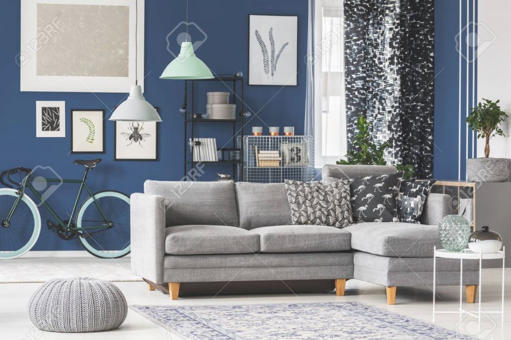 Big Living Room With Blue Walls, Grey Sofa And Plenty Of Fashionable.. regarding Blue And Grey Living Room