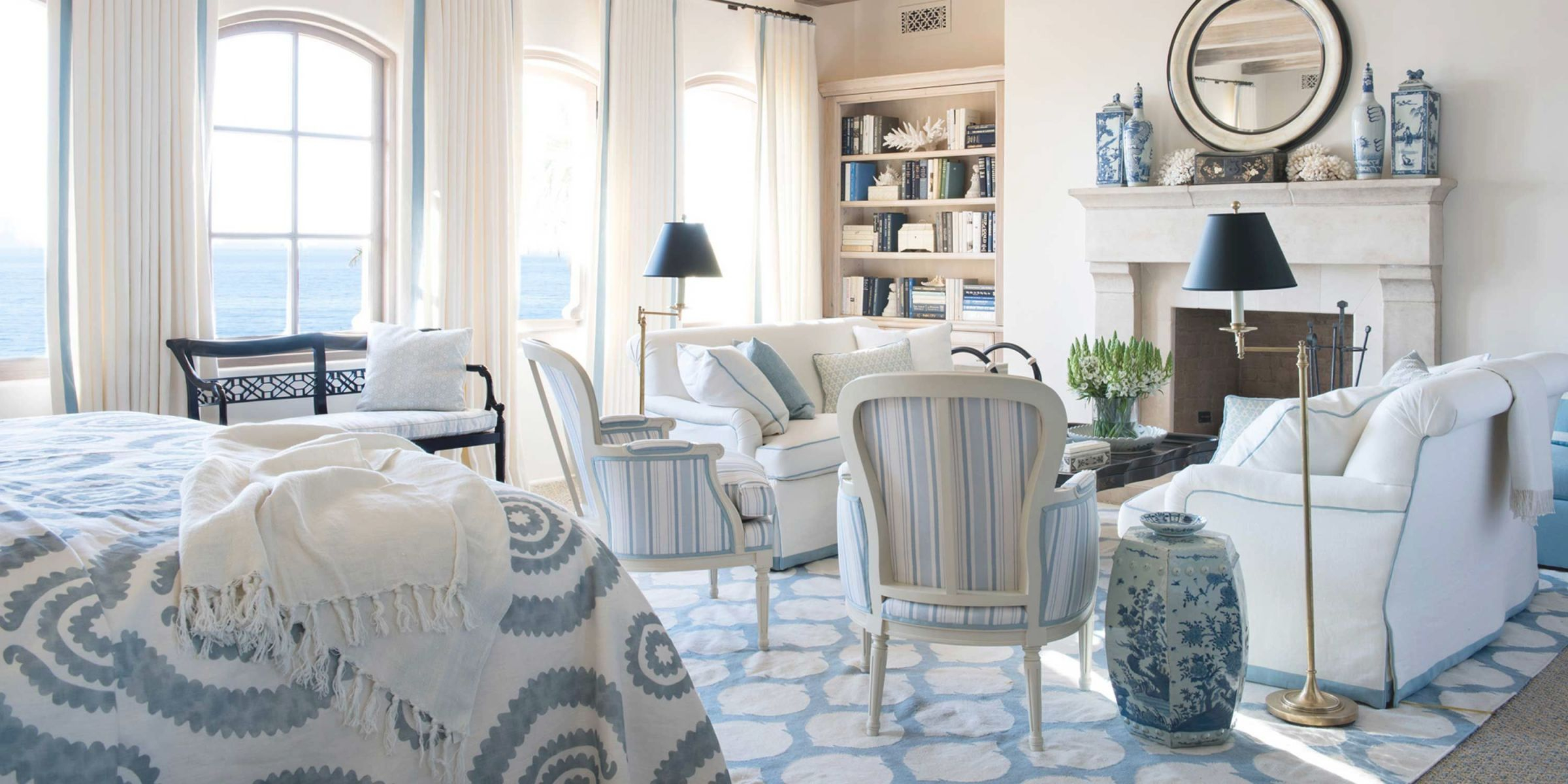 Blue And White Rooms - Decorating With Blue And White regarding Blue And White Living Room