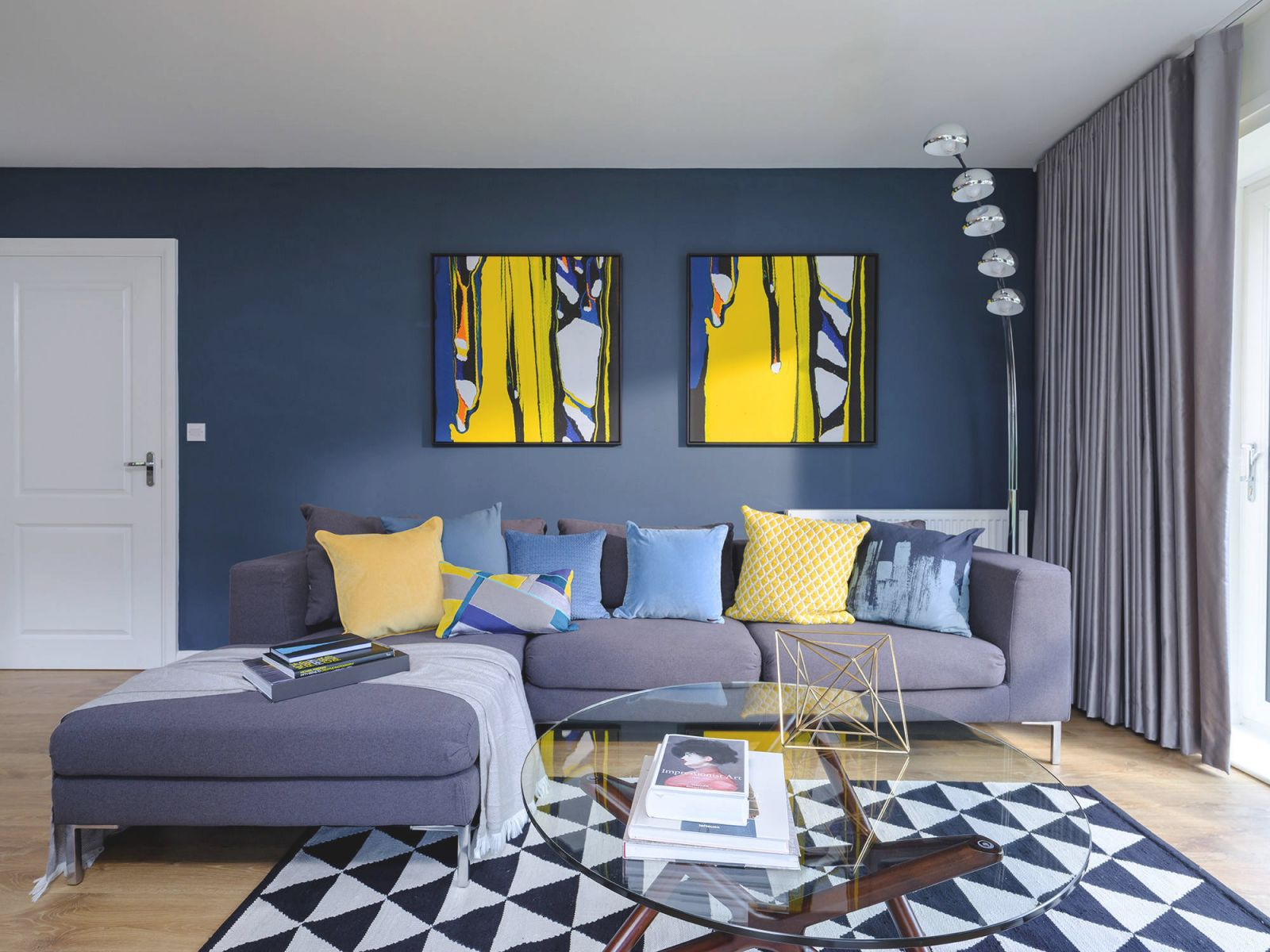 Blue And Yellow Living Room Ideas & Photos | Houzz for 12+ Awesome Gallery For Blue And Grey Living Room