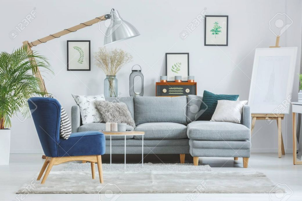 Blue Armchair On Grey Carpet In Designer'S Living Room With Lamp,.. intended for Blue And Grey Living Room