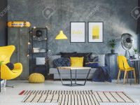 Blue Blanket In Contemporary Living Room With Yellow Pillow On.. within 15 Beautiful Ideas Blue And Yellow Living Room