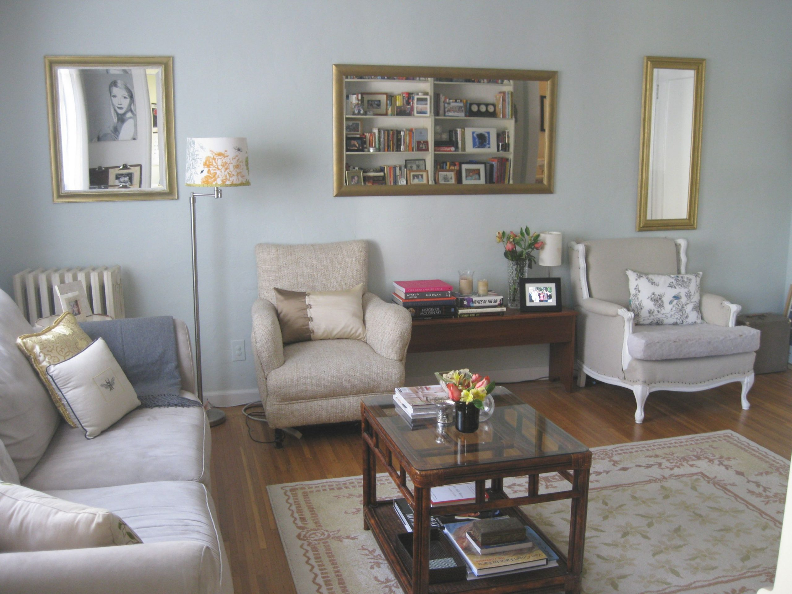 Blue Wall Theme And Double Beige Fabric Chairs Also with 12+ Awesome Gallery For Blue And Grey Living Room
