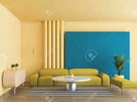 Bright Interior Of Living Room With Yellow And Blue Walls, Wooden.. in Blue And Yellow Living Room