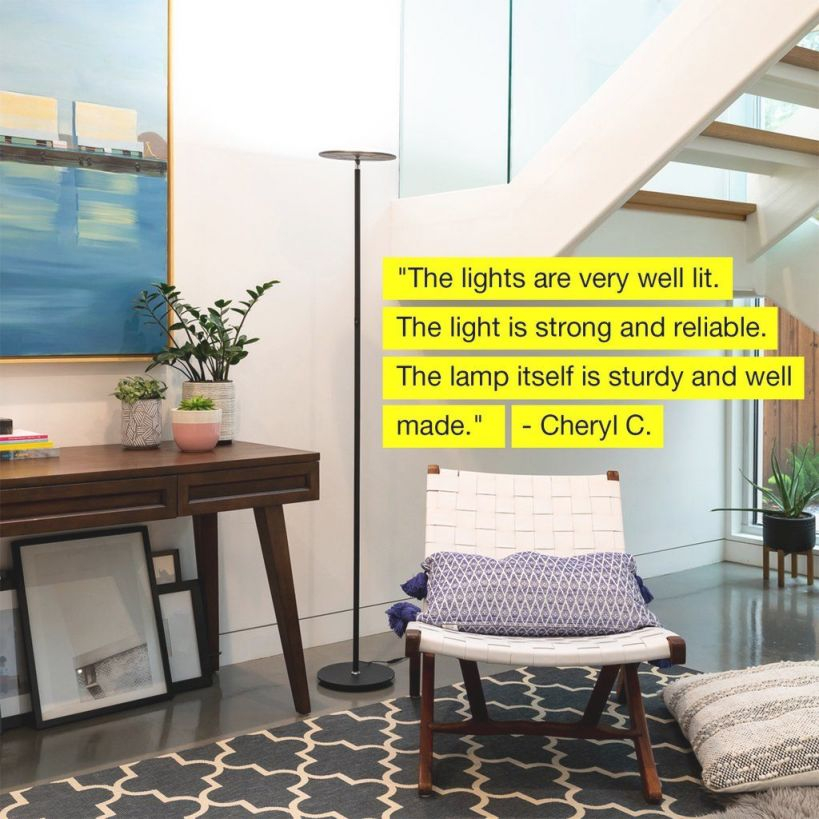 Brightech Sky Led Torchiere Floor Lamp – Living Room within Bright Floor Lamp For Living Room