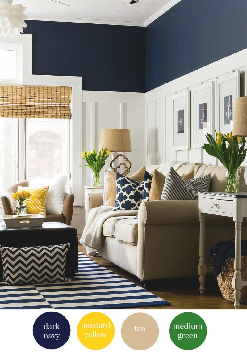 Choosing The Right Paint Colors + Design Inspiration | Navy regarding 10+ Inspiration For Blue And Tan Living Room