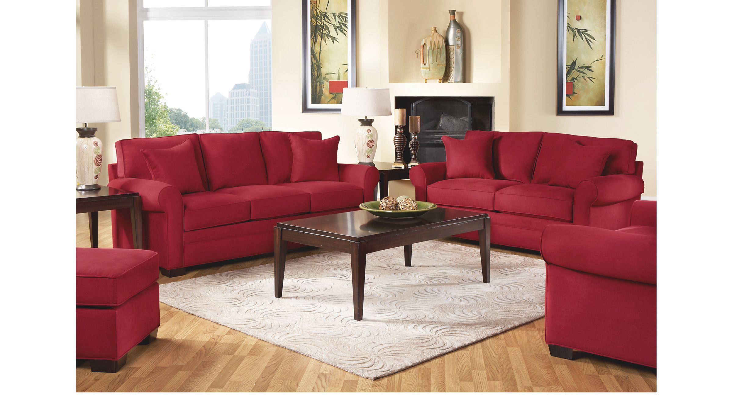 Cindy Crawford Home Bellingham Cardinal 7 Pc Living Room in Brown And Red Living Room
