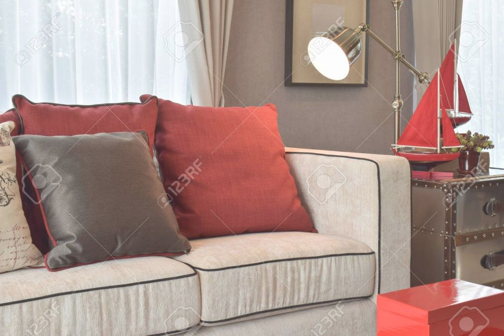 Classic Industrial Look Living Room With Beige Sofa And Red And.. inside 8+ Amazing Inspiration Ideas For Brown And Red Living Room