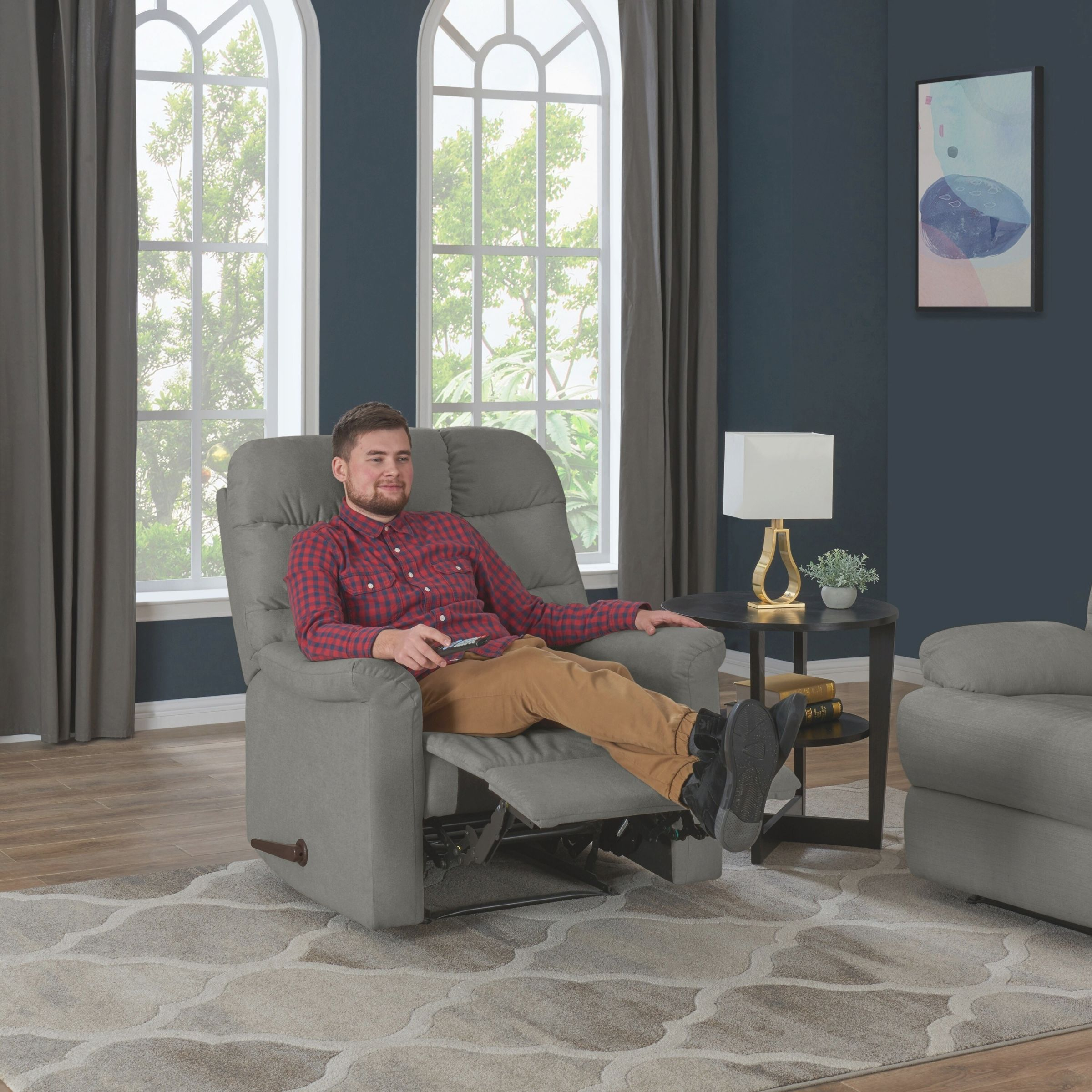 Copper Grove Deinze Blue/Grey/Tan Velvet Tufted Back Extra Large Wall Hugger Reclining Chair throughout Blue And Tan Living Room