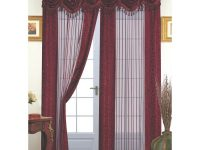 Dainty Home Tango Window Panel With Attached Valance, Burgundy in 10+ Unique Gallery Burgundy Curtains For Living Room