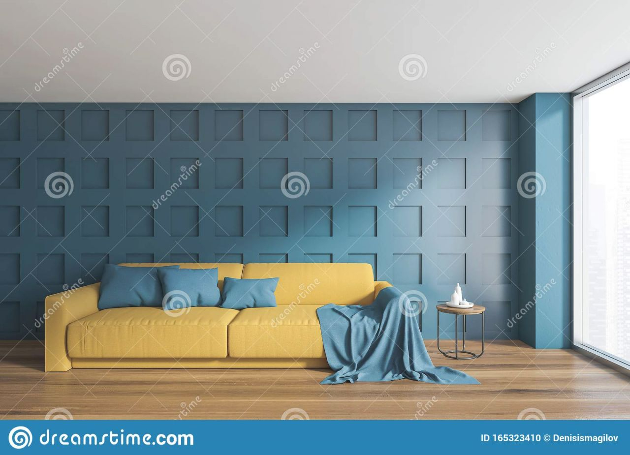 Dark Blue Living Room With Yellow Sofa Stock Illustration intended for 15 Beautiful Ideas Blue And Yellow Living Room