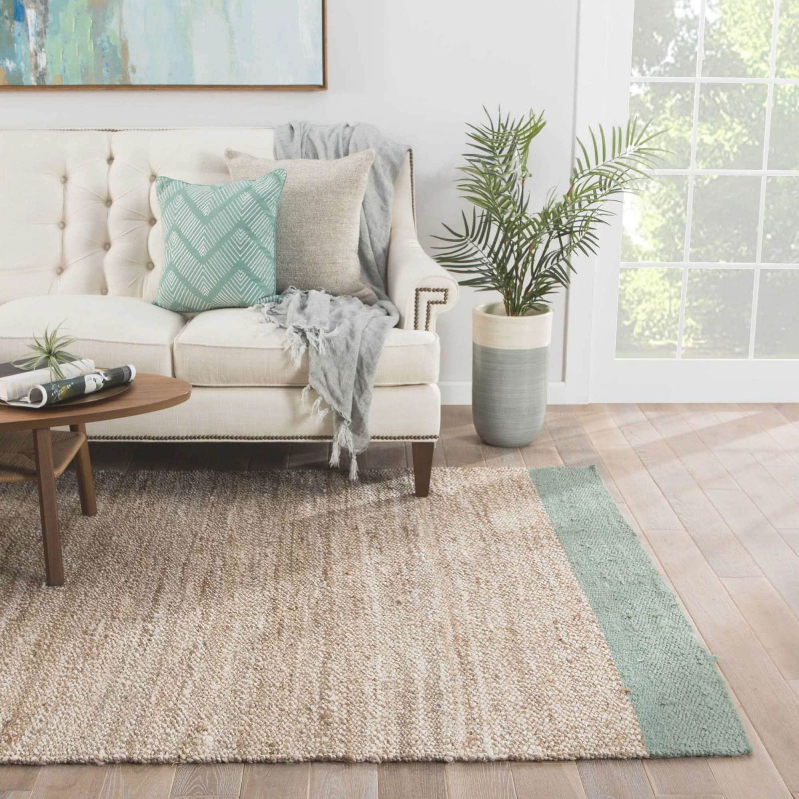 "Delphin Natural Bordered Tan/ Blue Area Rug (8' X 10') – 7'10"" X 9'10"" for 10+ Inspiration For Blue And Tan Living Room"