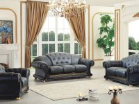 Details About Black Genuine Italian Leather Luxury Sofa Loveseat & Chair 3Pc Living Room Set throughout Chairs For Living Room Cheap