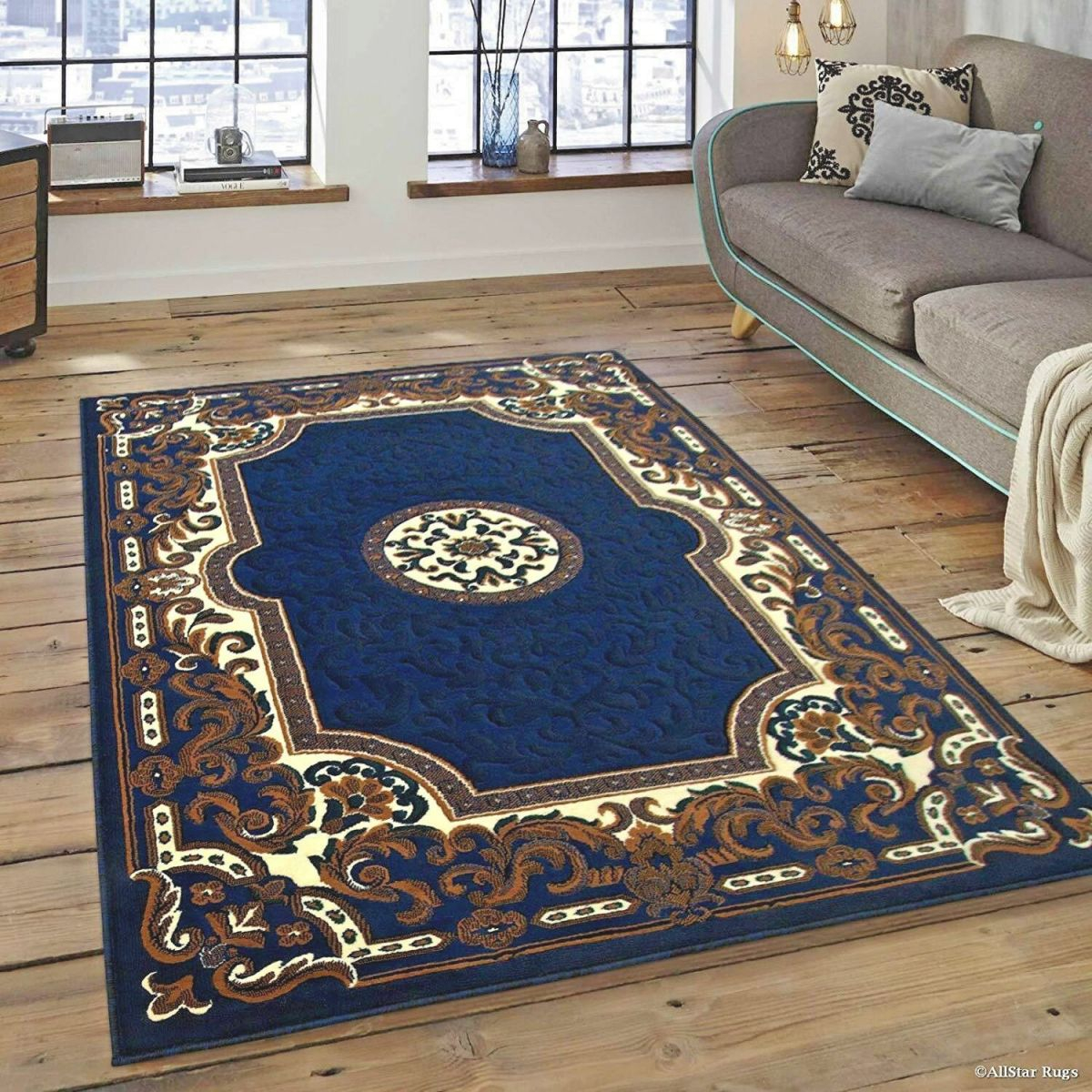 Details About Rugs Area Rugs Carpet 8X10 Rug Oriental Living Room Large Floor 5X7 Blue Rugs ~~ throughout Awesome Ideas For Big Area Rugs For Living Room