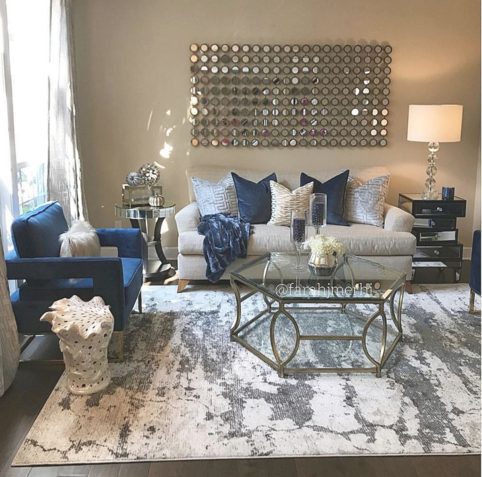 ❤️ ❥@P̶vѕв143❣❤️ | Living Room Decor Apartment, Glam throughout Blue And Tan Living Room