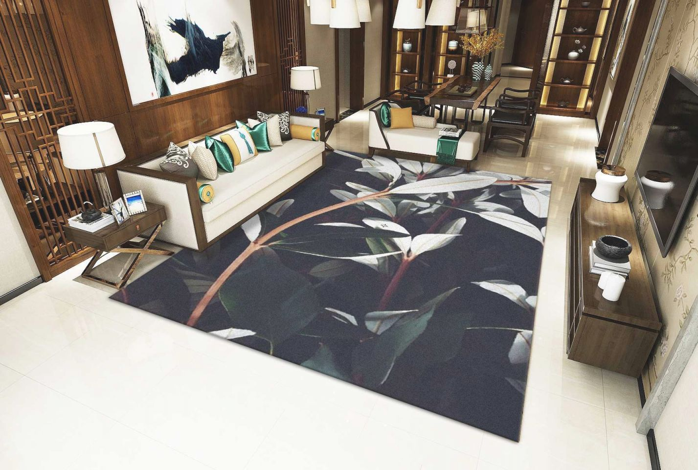 Floral Pattern European Living Room Big Area Decoration Carpet Rugs For Bedroom Soft House Door Mat Coffee Table Carpe Flooring Over Carpet Shaw in Big Area Rugs For Living Room