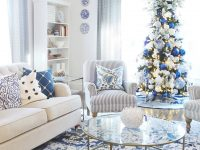Getting A Blue And White Living Room Ready For Christmas throughout Blue And White Living Room