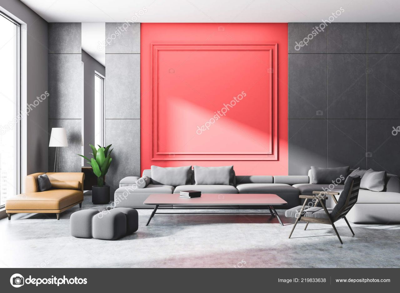 Gray And Red Wall Living Room Interior With Concrete Floor, Gray And Brown Sofas, Armchair And Coffee Table With Books. 3D Rendering Mock Up 219833638 with 8+ Amazing Inspiration Ideas For Brown And Red Living Room