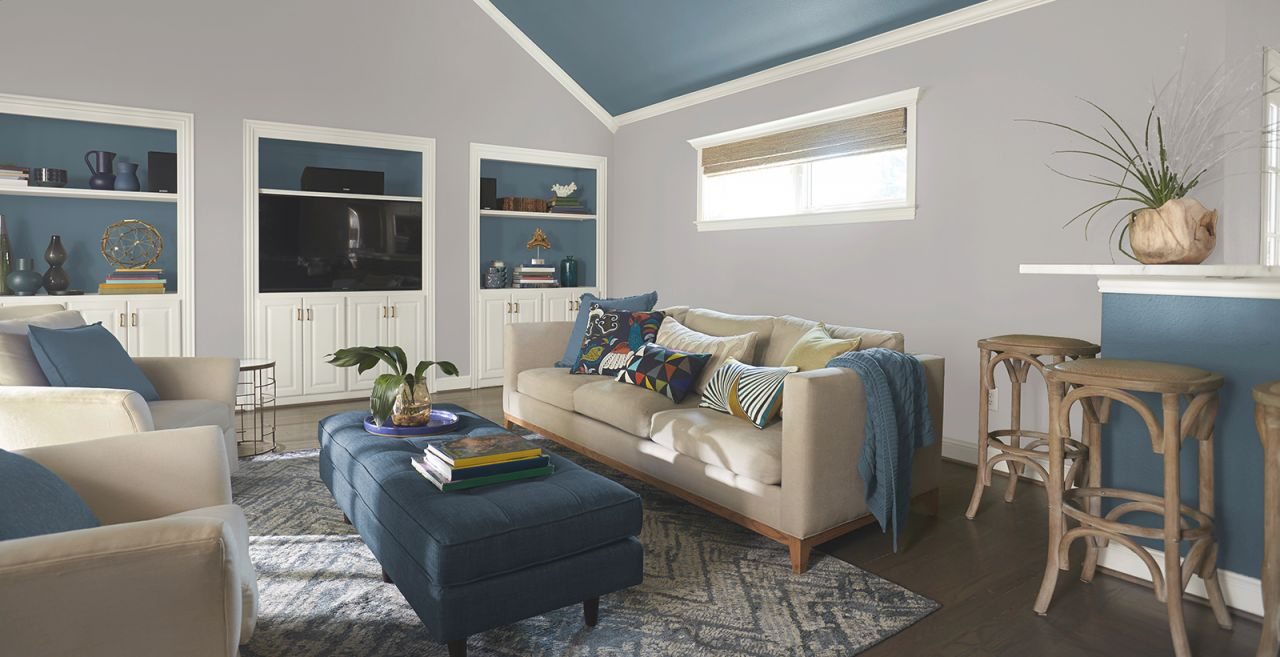 Gray Living Room Ideas And Inspirational Paint Colors | Behr pertaining to 10+ Inspiration For Blue And Tan Living Room