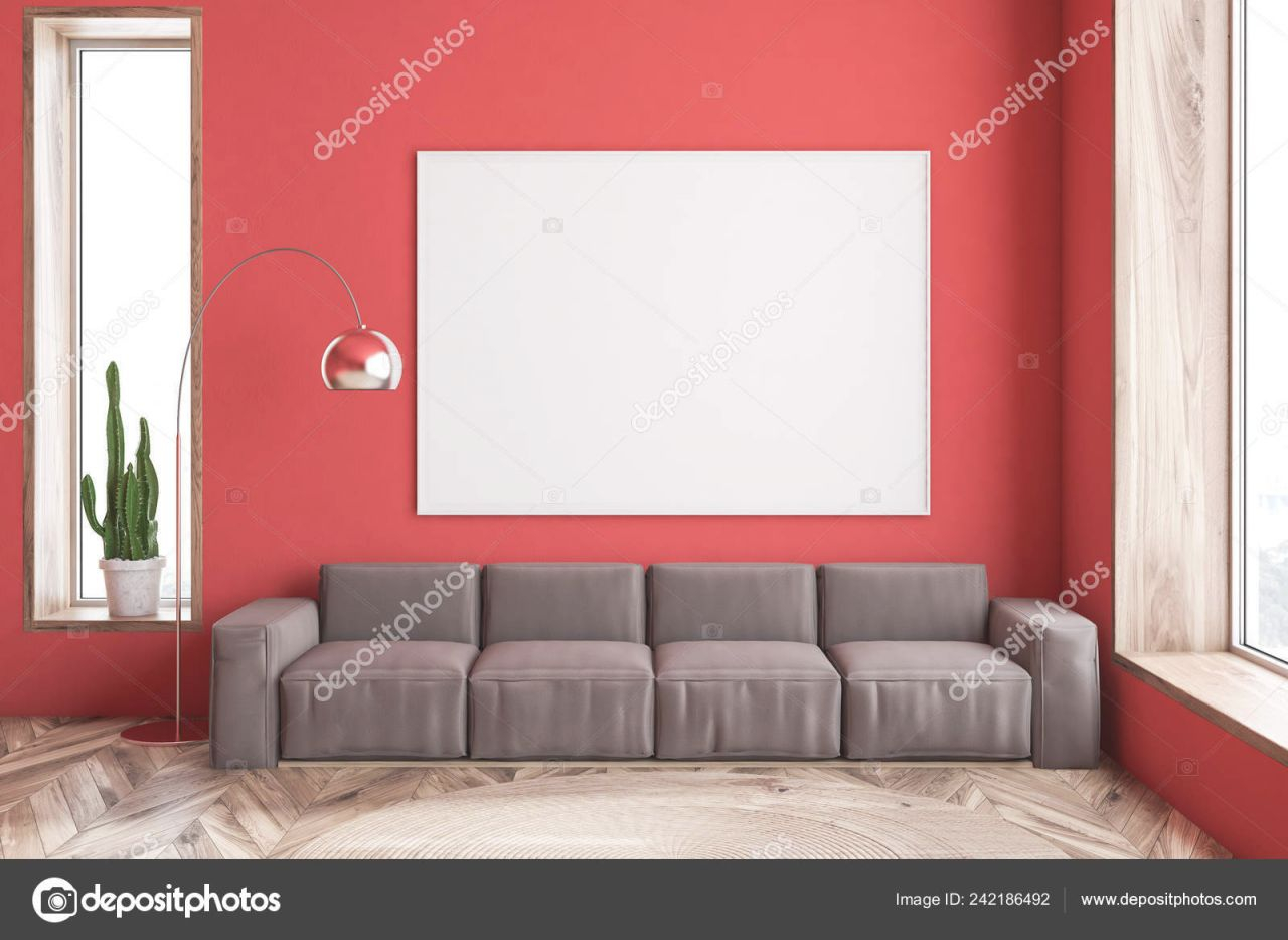 Interior Of Modern Living Room With Red Walls, Wooden Floor And Long Brown Sofa With Horizontal Poster Above It. 3D Rendering Mock Up 242186492 in Brown And Red Living Room