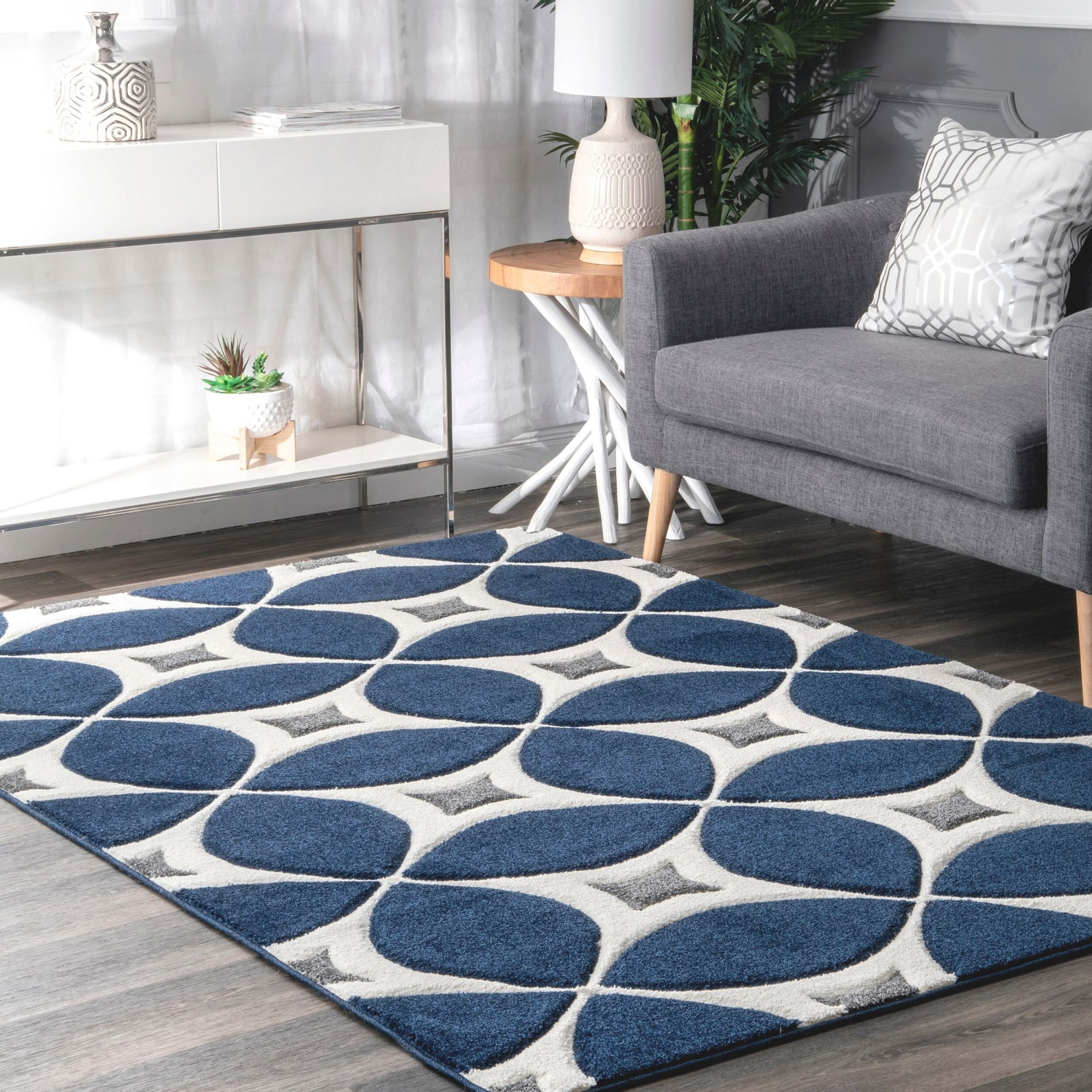 Jamar Geometric Handmade Tufted Jute/Sisal Navy Blue Area Rug regarding Blue And Grey Living Room