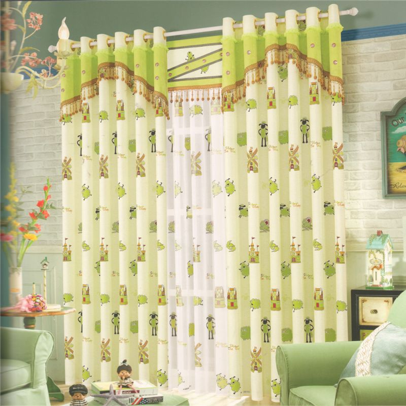Light Green Sheep Beautiful Curtains For Living Room intended for Beautiful Curtains For Living Room
